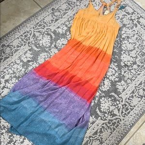 Carla Weeks Anthropologie rainbow maxi dress
